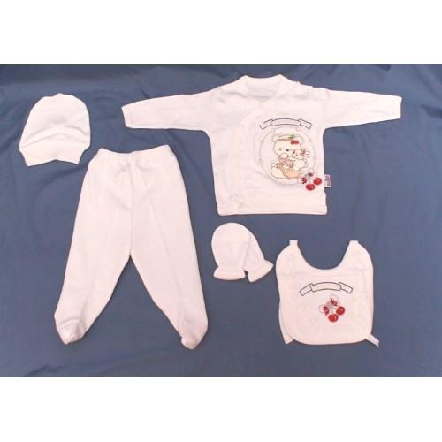 Набор для новорожденного 5 в 1 «Мишка» белый