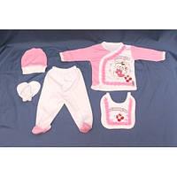 Набор для новорожденного 5 в 1 «Мишка» розовый
