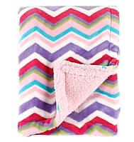 Теплое двухслойное одеяло-плед для девочки зигзаги, Hudson Baby, 76х102см, с вешалкой