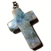 Крестик яшма зеленая серебро