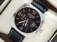 Мужские кварцевые наручные часы Luminor Panerai GMT 10 Days на кожаном ремешке с датой