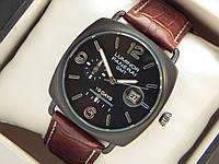 Мужские кварцевые наручные часы Luminor Panerai GMT 10 Days на кожаном ремешке с датой , фото 1