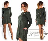 Платье женское зеленый открытые плечи АК/-260 54, серый