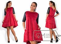 Платье женское бордо с кожей АК/-261 50, коричневый