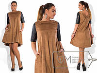 Платье женское коричневое с кожей АК/-261 48, бордовый