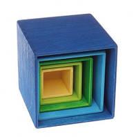 Пирамидка Grimms Кубы холодного цвета