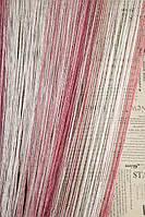Нити радужные с люриксовой нитью Дождик Дождик розовый