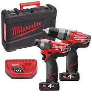 Набор аккумуляторного инструмента:  шуруповерт ударный m12 cpd + электро-отвёртка m12 cid powerpack m12pp2a-402c fuel Milwaukee