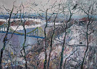Картина маслом пейзаж «Зимний пейзаж Киева» (купить картину на тему зима)