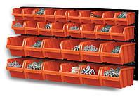 Стенд для инструментов Prosperplast черный 80x40см 2шт + 30 контейнеров