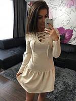 Платье женское короткое трикотажное со шнуровкой на груди P1235, фото 1