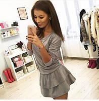 Платье женское короткое замшевое с расклешенной юбкой P1241