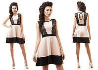 Платье женское короткое из дайвинга с кружевами P1245