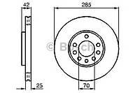 Диск тормозной Fiat, Opel, SAAB, передний вентилируемый (производство Bosch ), код запчасти: 0986479107