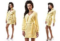 Платье женское короткое повседневное с хомутом и поясом P1248, фото 1