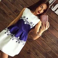 Платье женское короткое из жаккарда с цветами P1283