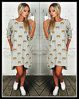 Платье туника Двунитка с накаткой фото серое мишки