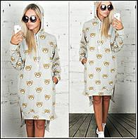 Платье туника с капюшоном Двунитка с накаткой фото серое мишки