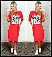 Платье туника Двунитка с накаткой фото красная