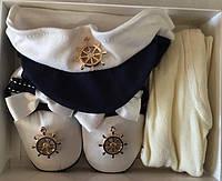 """Комплект для новорожденных """"Моряк"""". Белый. Оптом."""