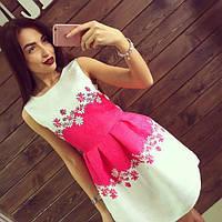 Платье женское короткое из жаккарда с цветами P1280
