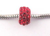 Шарм бусина в стразах для браслета Pandora (пандора) 11*8 мм красная