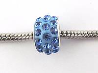 Шарм бусина в стразах для браслета Pandora (пандора) 11*8 мм голубая