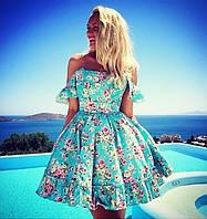 Летнее пышное женское платье на бретелях с цветочным принтом подъюбник из фатина коттон