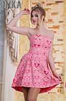 Асимметричное пышное женское платье с корсетным лифом со шнуровкой на спине жаккард