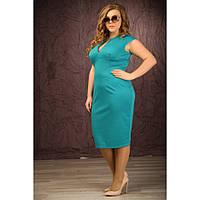 Женское трикотажное платье короткий рукав Сандра цвет морская волна размер 48-72 / больших размеров