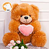 Плюшевый мишка Томми с сердцем, 70 см, медовый, фото 2