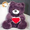 Плюшевый медвежонок с сердцем, 65 см, фиалковый, фото 2