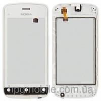 Touchscreen (сенсорный экран) для Nokia C5-06, с передней панелью, оригинал (белый)
