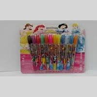Набір гелевих ручок в блістері 12 кольорів Принцеси з блискітками JO F-004-12P