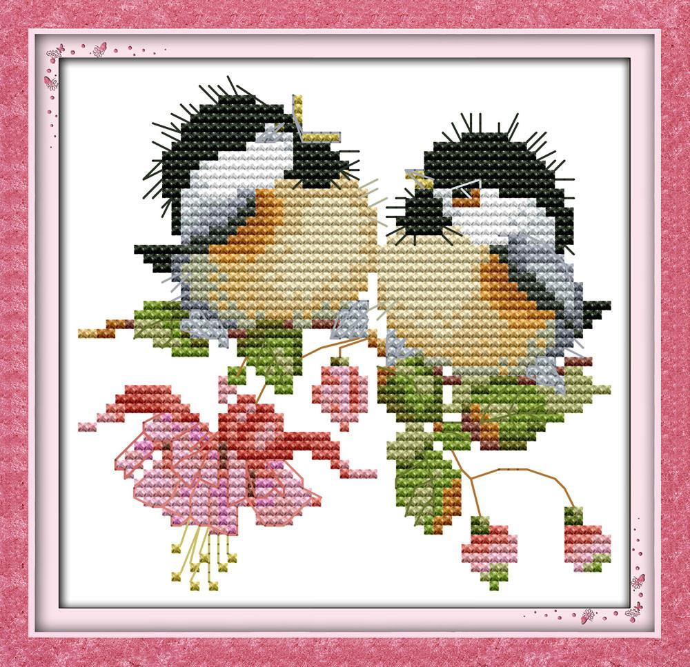 Пение птиц в цветах D735 Набор для вышивки крестом  канва 14ст