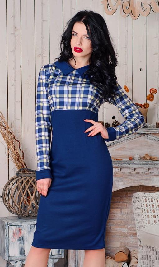деловое платье в клетку, стильное платье в клетку, офисное платье ниже колена