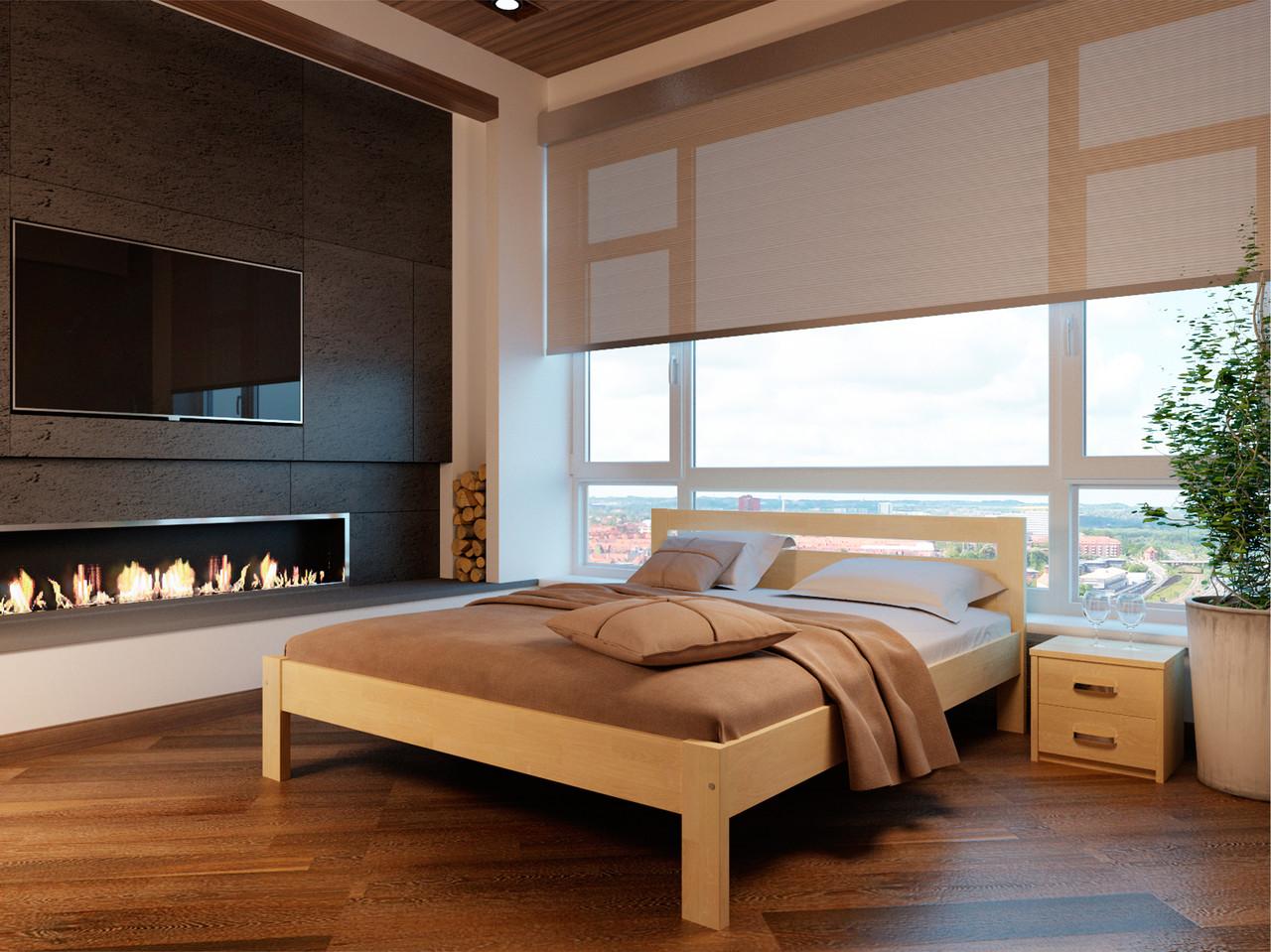 Ліжко півтораспальне в спальню, дитячу Соната140*200 (Бук)Неомеблі