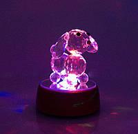 Собака хрустальная на подставке с подсветкой 7,5х6,3х6,3 см
