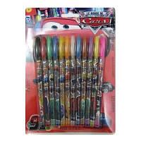 Набір гелевих ручок в блістері 12 кольорів Тачки з блискітками JO F-023-12C