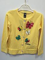 Кофта на пуговицах желтая с бабочками р.3-4,7-8 лет