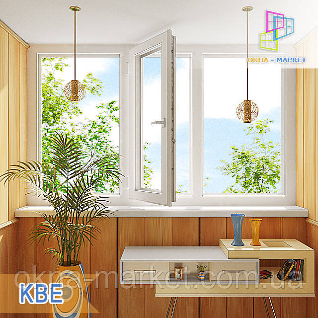 Трехчастная лоджия пластиковая KBE Киев, фото 1