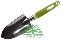Лопатка садовая, широкая металлическая, с прорезиненной рукояткой, Оазис