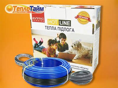 Двожильний нагрівальний кабель HOT LINE дк-1400 (10,2 кв.м), (двухжильный нагревательный кабель)