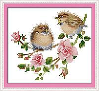 Пение птиц в цветах Набор для вышивки крестом  канва 14ст