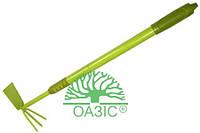 Тяпка-трезуб металлический, с телескопической удлиненной прорезиненной рукояткой, Оазис