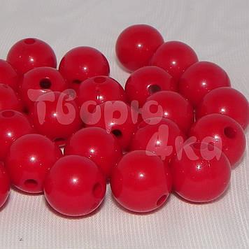 Бусина пластиковая глянцевая 10 мм красная
