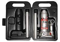 Домкрат гидравлический бутылочный, 2 т, h подъема 181–345 мм, в пласт. кейсе MTX MASTER (507509)