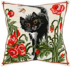 """Набор для вышивания нитками """"Подушка """"Кот среди маков"""""""