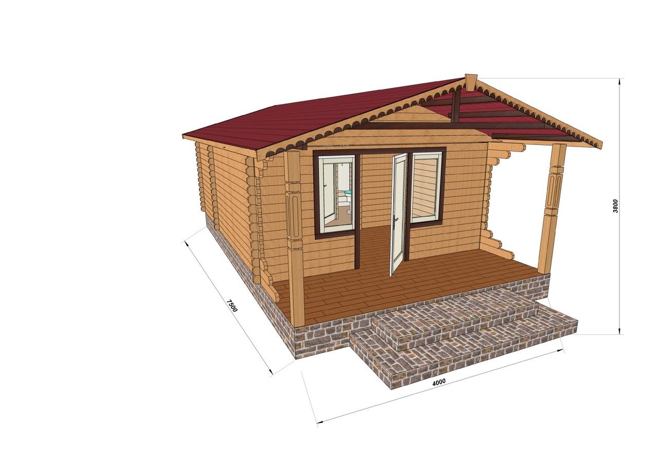 Строительство домов из профилированного бруса с верандой 4.2х7.5