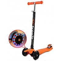Самокат трехколесный 466-113 с наклонным поворотом руля и светящим оранжевый